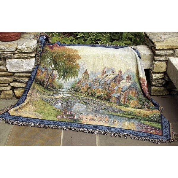 Cobblestone Bridge Verse Tapestry Cotton Throw by Manual Woodworkers & Weavers