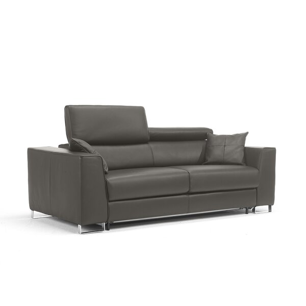 Siasconset Genuine Leather 87'' Square Arm Sofa Bed By Orren Ellis