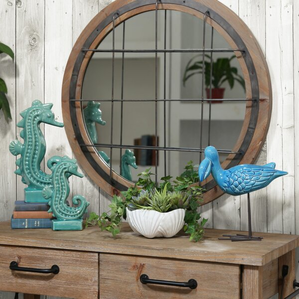 Makris Window Pane Round Wall Mirror by Gracie Oaks