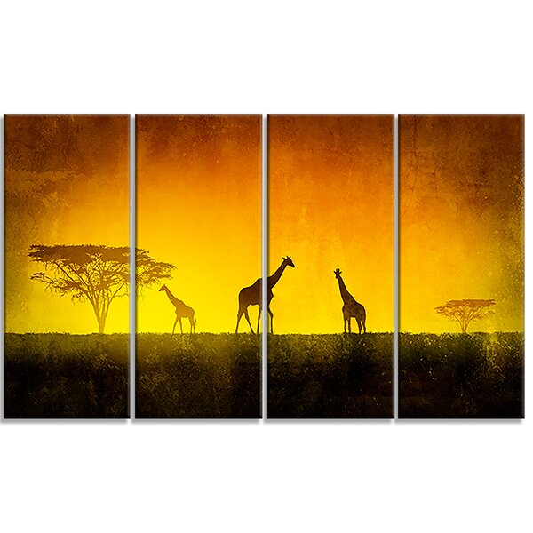 African Sunset Aura Landscape 4 Piece Photographic Print on Wrapped Canvas Set by Design Art