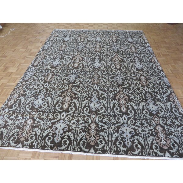 One-of-a-Kind Railsback Ikat Hand-Knotted Brown Area Rug by Astoria Grand