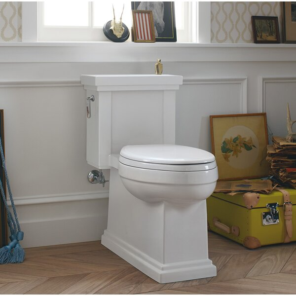 Tresham Comfort Height Skirted One-Piece Compact Elongated 1.28 GPF Toilet with Aquapiston Flush Technology and Left-Hand Trip Lever by Kohler
