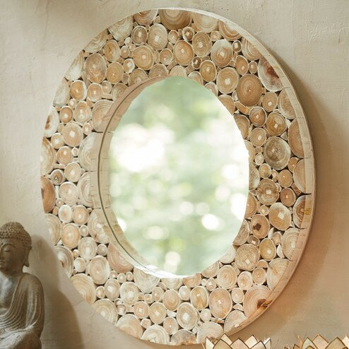 Round Teak Wood Slice Wall Mirror by VivaTerra