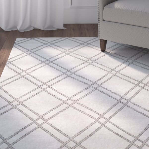 Bradenton Hand-Knotted Steel Gray Area Rug by Charlton Home