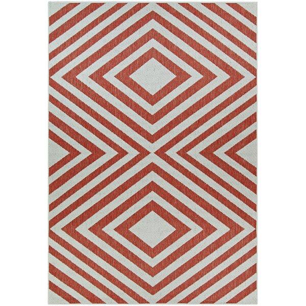 Morrigan Orange/White Indoor/Outdoor Area Rug by Wrought Studio