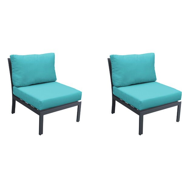 Kammerer Armless Patio Chair with Cushions (Set of 2) by Wrought Studio