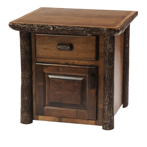 Hickory End Table with Storage by Fireside Lodge Fireside Lodge