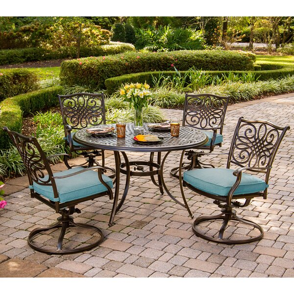 Barrowman 5 Piece Metal Dining Set with Cushions by Darby Home Co