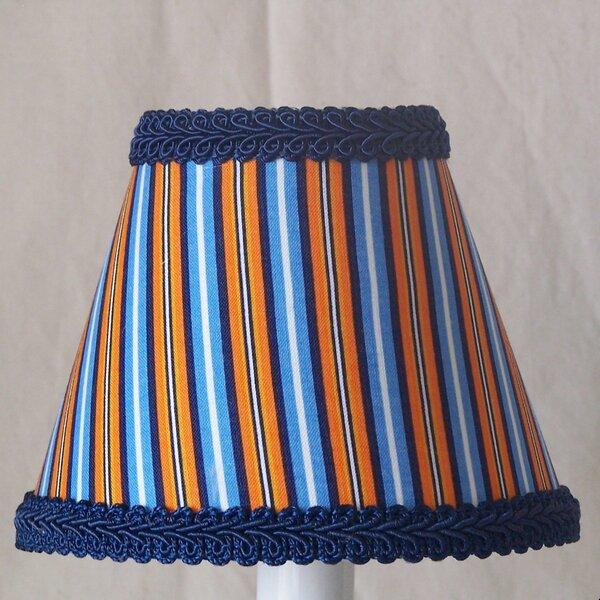 Sports Stripes 7 H Fabric Empire Lamp Shade ( Screw On ) in Blue/Orange