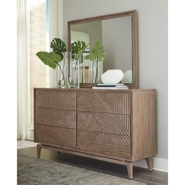 Vanowen 6 Drawer Dresser Double with Mirror by Bungalow Rose