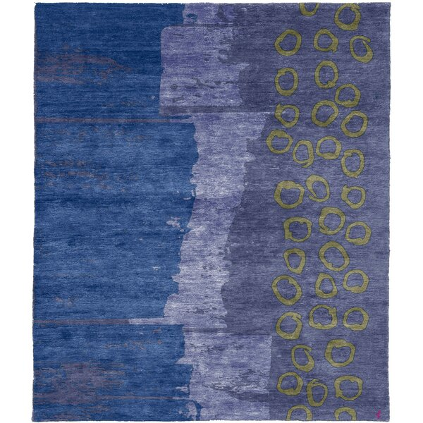 One-of-a-Kind Watkinsville Hand-Knotted Traditional Style Blue/Gray/Purple 9' x 12' Wool Area Rug