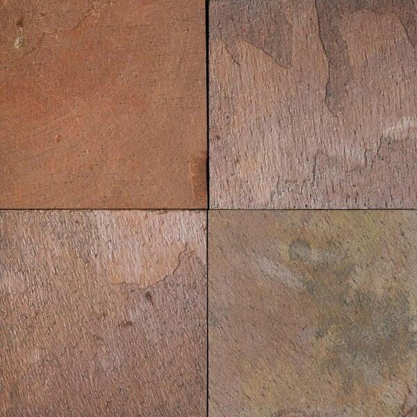 Multi Color Red Natural Cleft Face & Back 16x16 Slate Field Tile