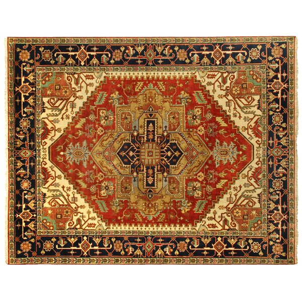 Serapi Hand-Knotted Wool Rust/Navy Area Rug by Exquisite Rugs