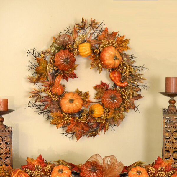 Sparkling Crackled Pumpkin Fall Wreath with Berry by Floral Home Decor