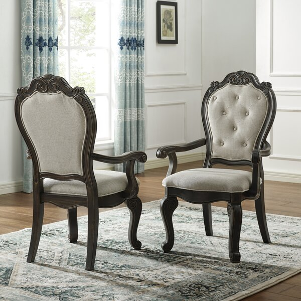 Nueva Tufted Upholstered Arm Chair in Espresso (Set of 2) by Astoria Grand Astoria Grand