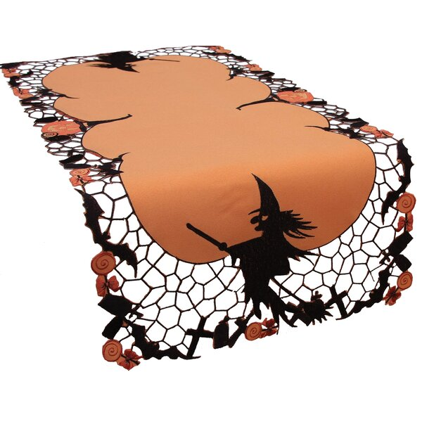 Witch Embroidered Cutwork Halloween Table Runner by The Holiday Aisle