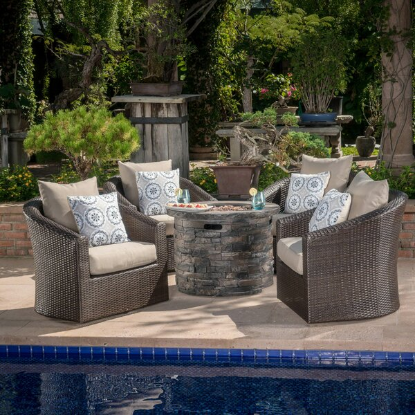 Paxson 5 Piece Rattan Multiple Chair Seating Group with Cushions by Red Barrel Studio Red Barrel Studio