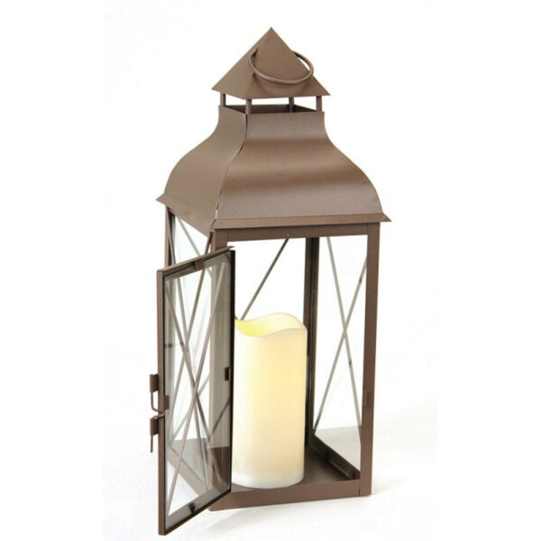 Metal Lantern with Flameless LED Lantern by Darby Home Co