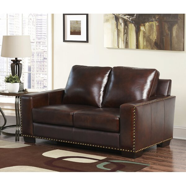Beautiful Classy Potsdam Leather Standard Loveseat by Red Barrel Studio by Red Barrel Studio