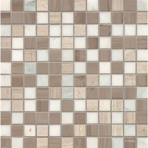 Maison 1 x 1 Marble and Lime Stone Mosaic Tile in Penthouse by Bedrosians