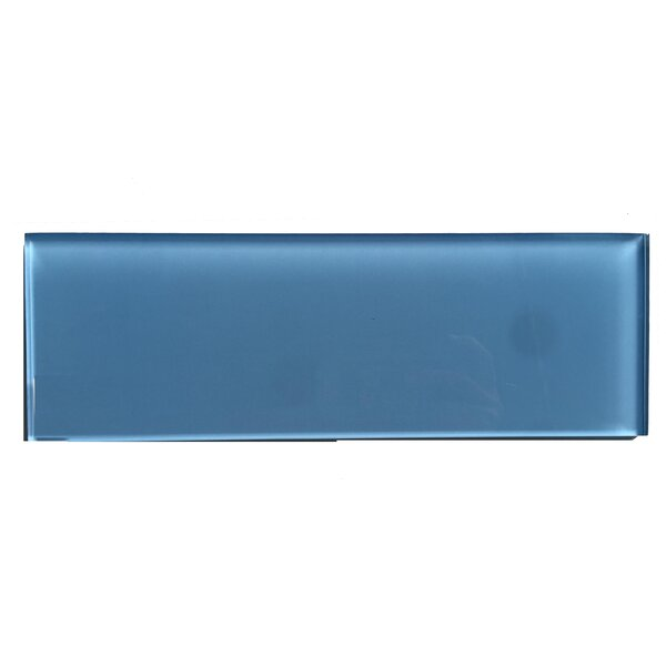 Premium Series 4 x 12 Glass Subway Tile in Glossy Ocean Blue by WS Tiles