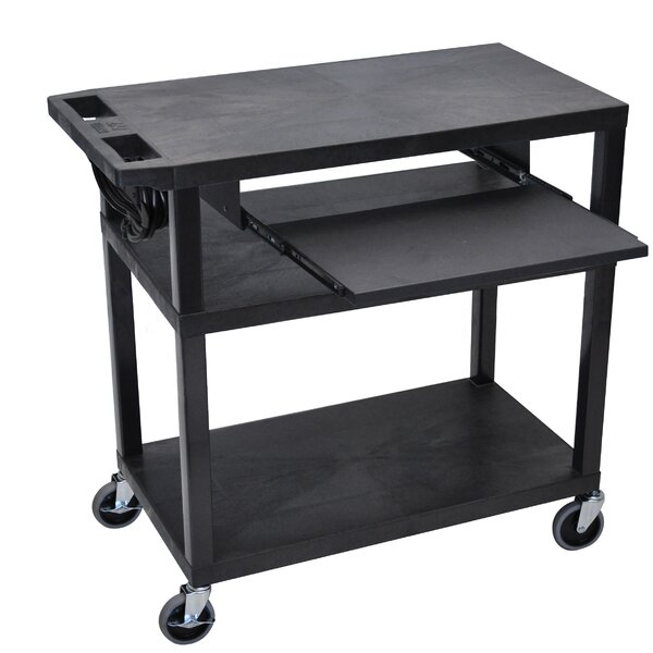 4 Flat Shelf Electric AV Cart by Offex