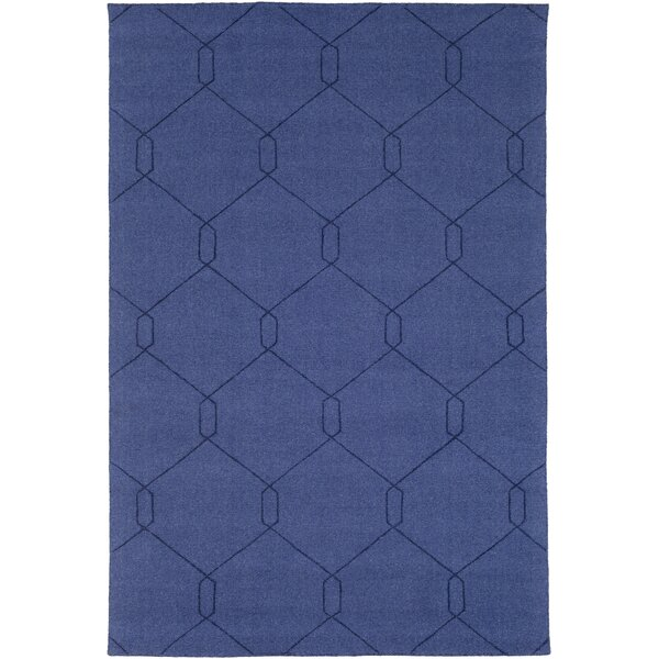 Pinon Hand Woven Wool Blue Area Rug by Wrought Studio