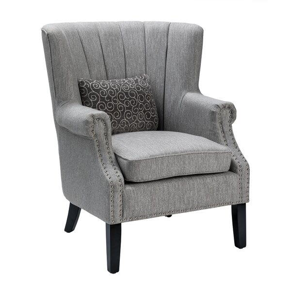 Grannis Upholstered Channel Back Accent Armchair by Alcott Hill Alcott Hill