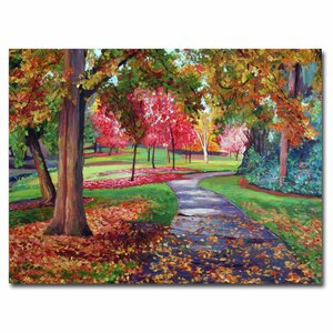 'September Park' by David Lloyd Glover Framed Painting Print on Wrapped Canvas by Trademark Fine Art