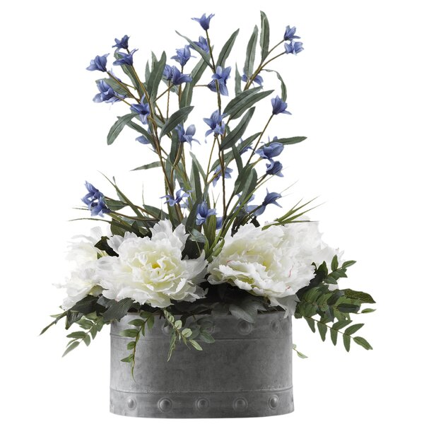 Peonies Floral Arrangement In Planter by Gracie Oaks