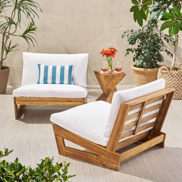 Pekalongan Outdoor Patio Chair With Cushions (Set Of 2) By Ebern Designs