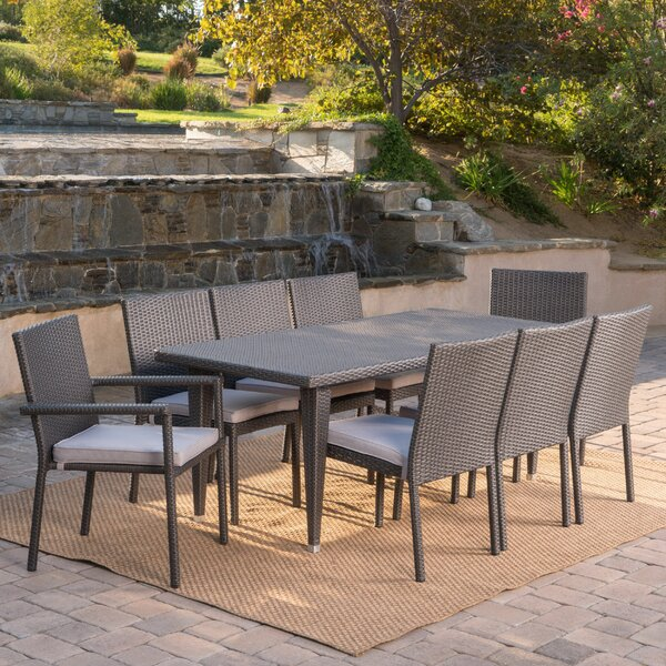 Schnell Wicker 9 Piece Dining Set with Cushions by Latitude Run