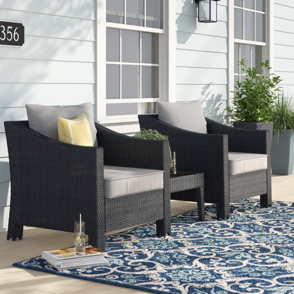 Portola 3 Piece Rattan Conversation Set with Cushion by Sol 72 Outdoor