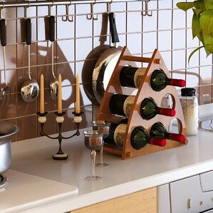 Pyramid 6 Bottle Tabletop Wine Rack by Furinno