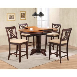Double X- Back Upholstered Counter Height 5 Piece Pub Table Set ByIconic Furniture