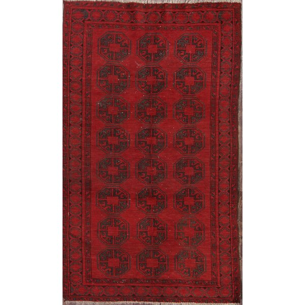 Plainville Balouch Afghan Traditional Vintage Oriental Hand-Knotted Wool Red/Burgundy Area Rug by Bloomsbury Market