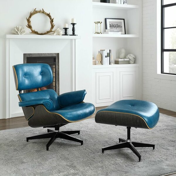 Omari Swivel Lounge Chair and Ottoman by Corrigan Studio
