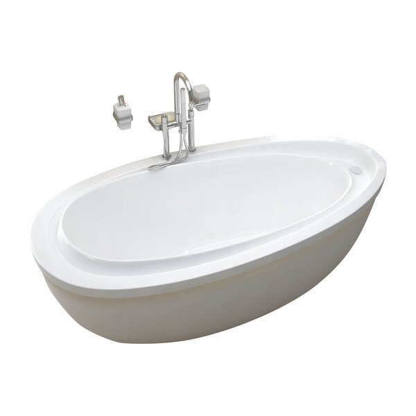 Capricia 71 x 38.75 Oval Freestanding Soaking Bathtub with Reversible Drain by Spa Escapes