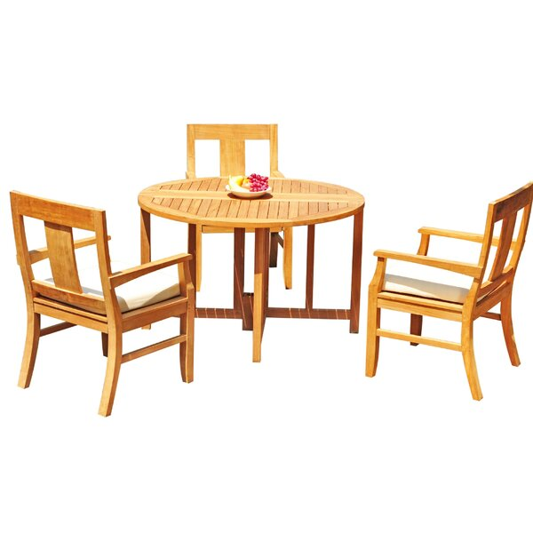 Kevon 4 Piece Teak Dining Set by Rosecliff Heights