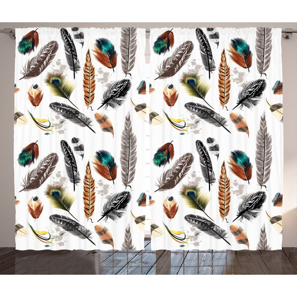 Types of Feathers Decor Graphic Print Room Darkening Rod Pocket Curtain Panels (Set of 2) by East Urban Home