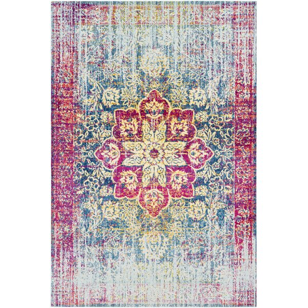 Tillamook Traditional Silk Distressed Floral Rose/Bright Pink Area Rug by Bungalow Rose