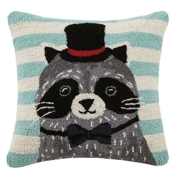 Raccoon Animal Stripe Hook Wool Throw Pillow by Peking Handicraft