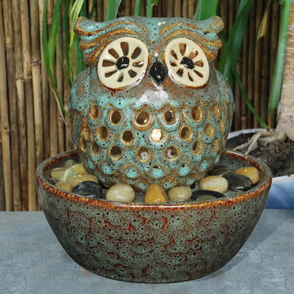 Ceramic Owl in Bowl Fountain with Light by Hi-Line Gift Ltd.