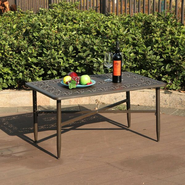 Carty Outdoor Patio Rectangular Cast Aluminum Coffee Table by Fleur De Lis Living