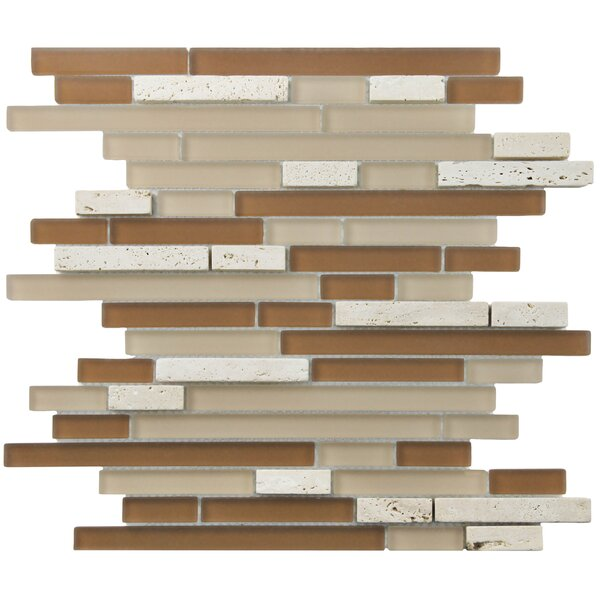 Sierra Random Sized Glass and Natural Stone Mosaic Tile in Brown/Cream by EliteTile