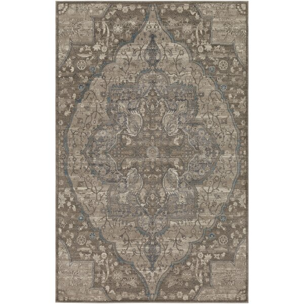 Ismael Floral Taupe/Cream Area Rug by World Menagerie