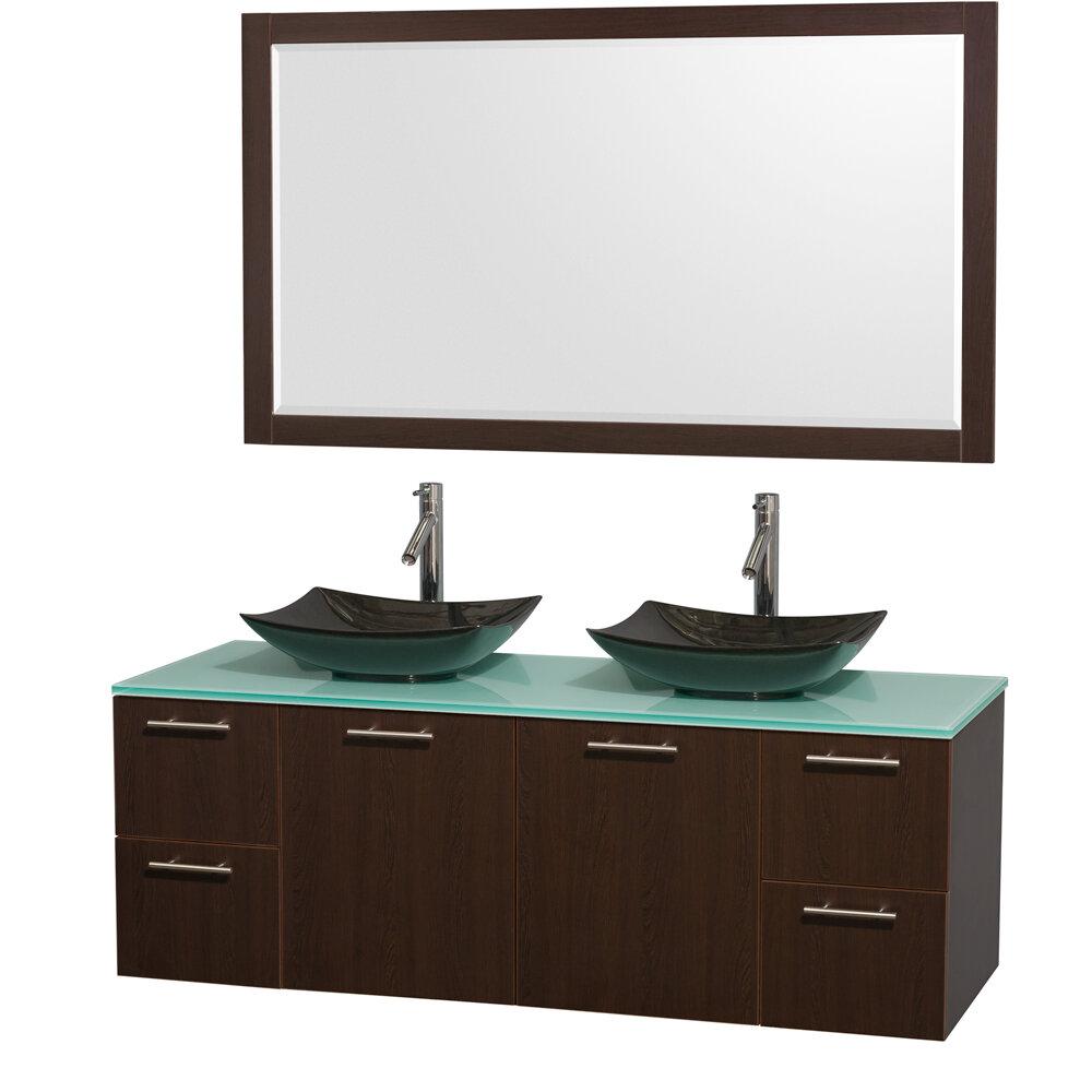 Wyndham Collection Amare 60 Double Espresso Bathroom Vanity Set