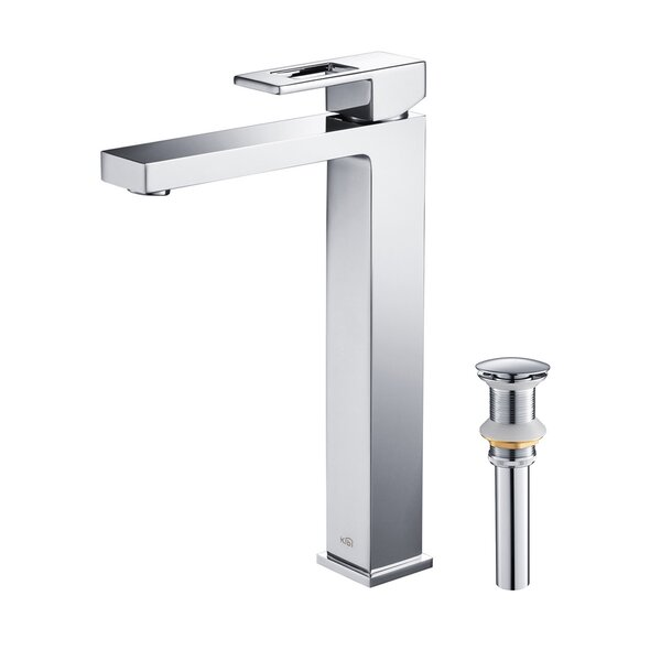 Cube Vessel Sink Bathroom Faucet with Optional Drain Assembly