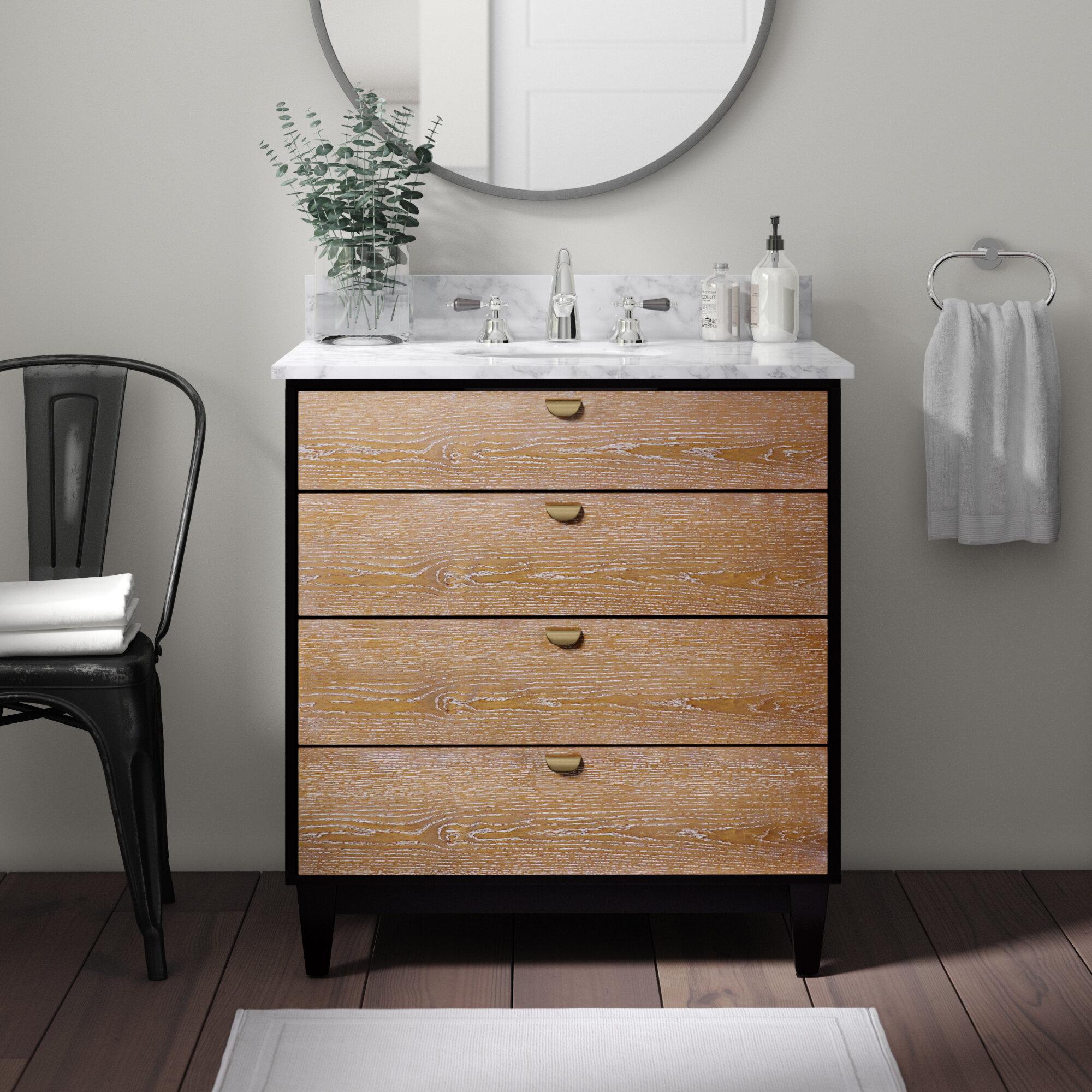 Union Rustic Holly Martin Tobin Bath Vanity Sink W Marble Top Industrial Style Limed Burnt Oak W Black And Grey Marble Reviews Wayfair Ca