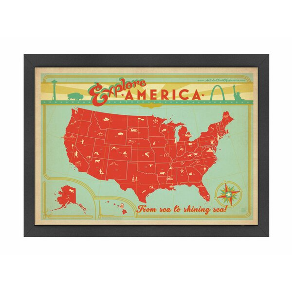 Explore America Framed Vintage Advertisement by East Urban Home